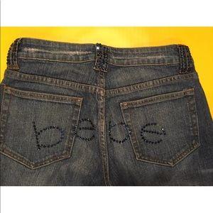 Bebe Womens Jeans Rhinestone Bling Rear SZ 27